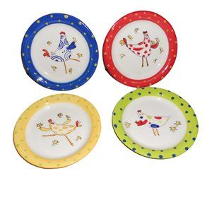 """4 Foreside 6"""" Plates Whimsical Chickens Chicks"""